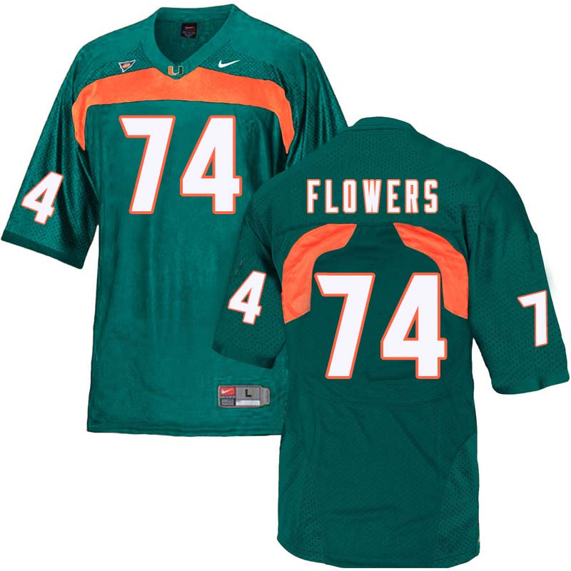 Nike Miami Hurricanes #74 Ereck Flowers College Football Jerseys Sale-Green