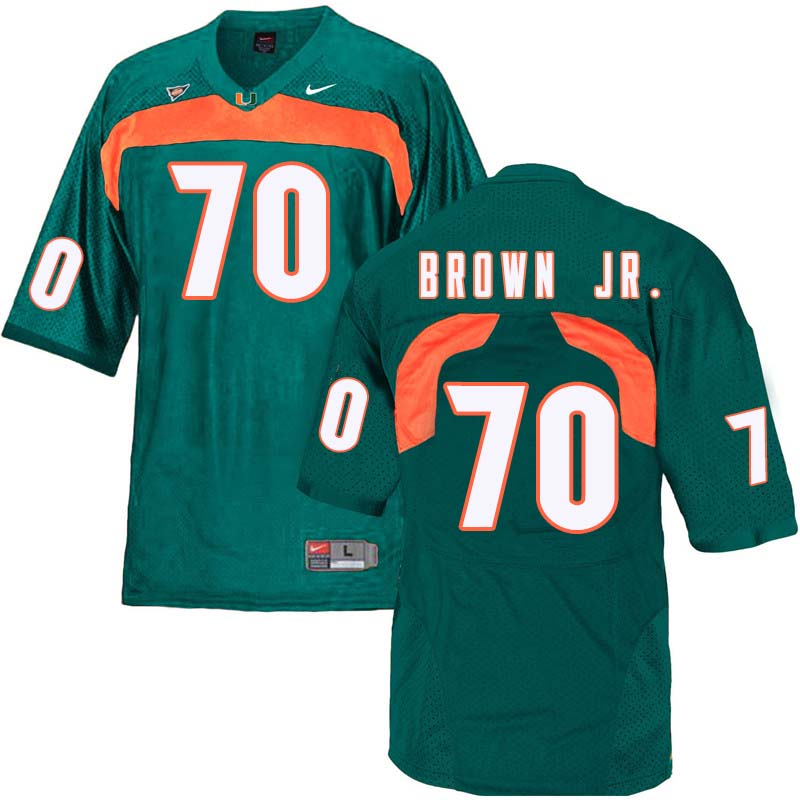 Nike Miami Hurricanes #70 George Brown Jr. College Football Jerseys Sale-Green