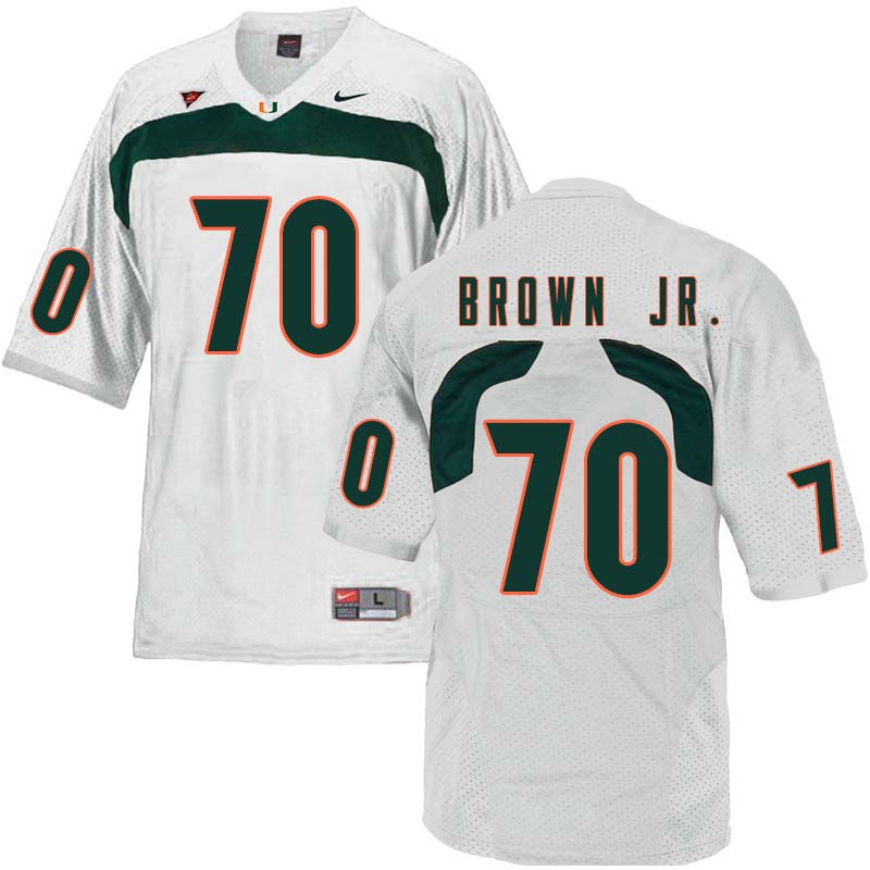 Nike Miami Hurricanes #70 George Brown Jr. College Football Jerseys Sale-White