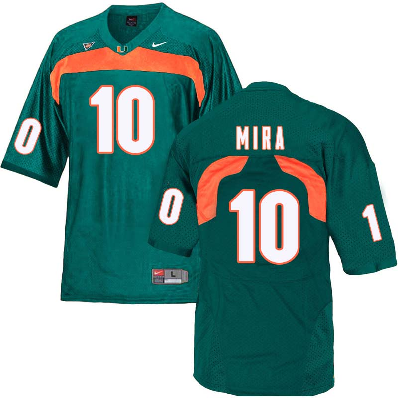 Nike Miami Hurricanes #10 George Mira College Football Jerseys Sale-Green