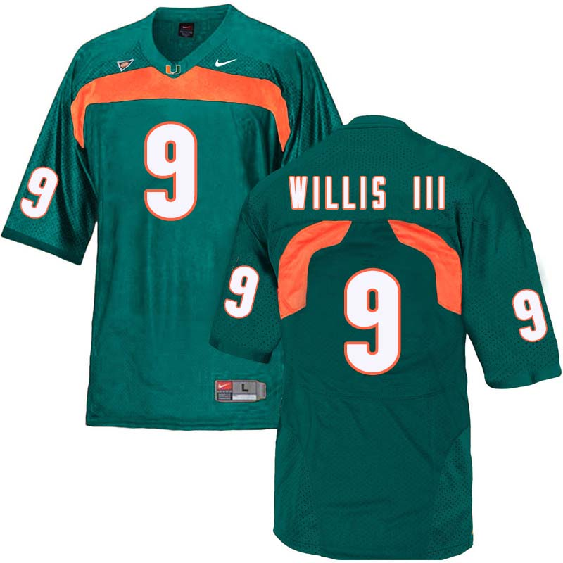 Nike Miami Hurricanes #9 Gerald Willis III College Football Jerseys Sale-Green