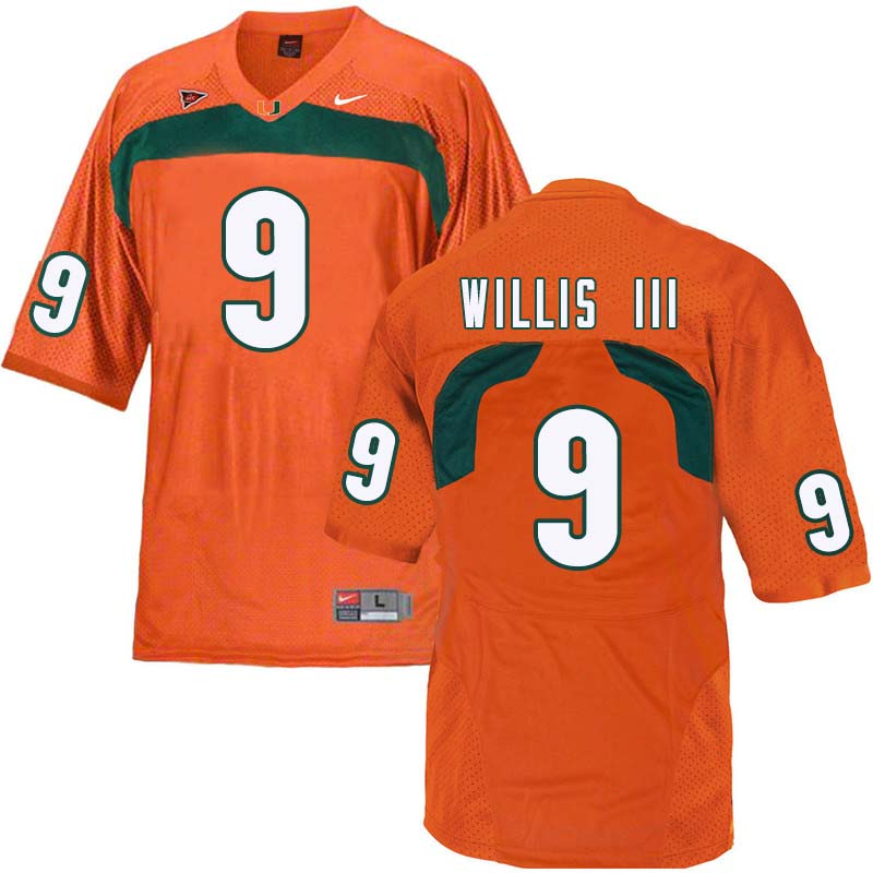 Nike Miami Hurricanes #9 Gerald Willis III College Football Jerseys Sale-Orange