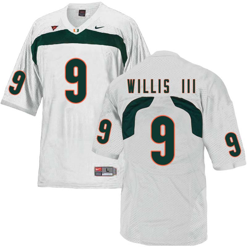 Nike Miami Hurricanes #9 Gerald Willis III College Football Jerseys Sale-White