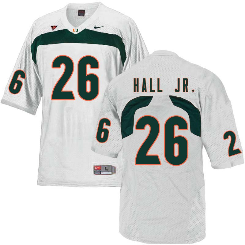 Nike Miami Hurricanes #26 Gurvan Hall Jr. College Football Jerseys Sale-White