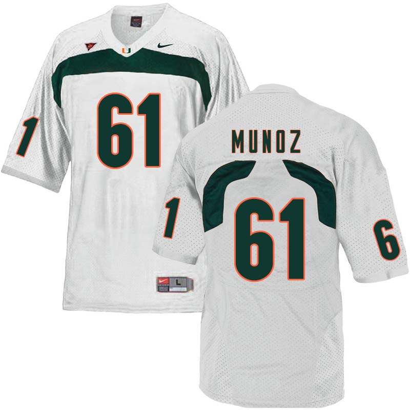 Nike Miami Hurricanes #61 Jacob Munoz College Football Jerseys Sale-White