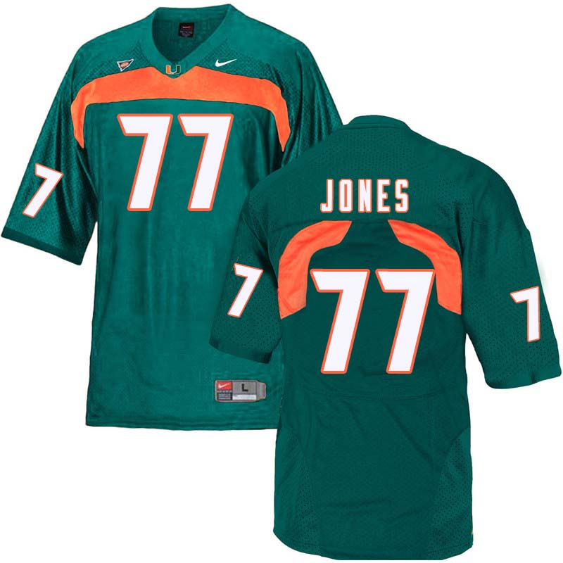 Nike Miami Hurricanes #77 Jahair Jones College Football Jerseys Sale-Green