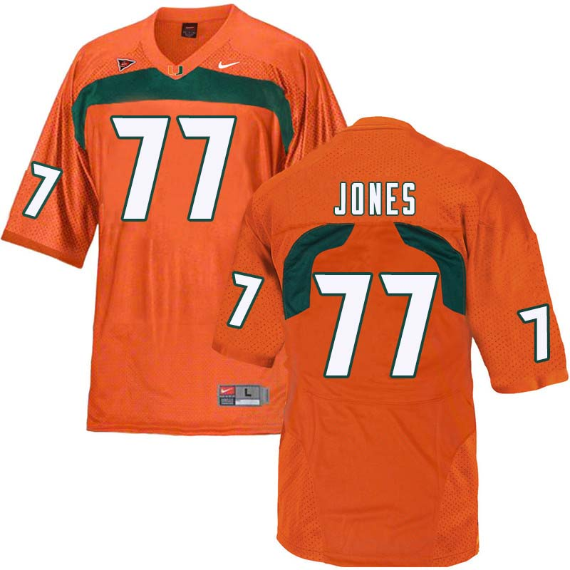 Nike Miami Hurricanes #77 Jahair Jones College Football Jerseys Sale-Orange