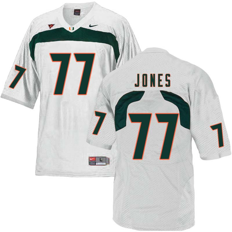 Nike Miami Hurricanes #77 Jahair Jones College Football Jerseys Sale-White