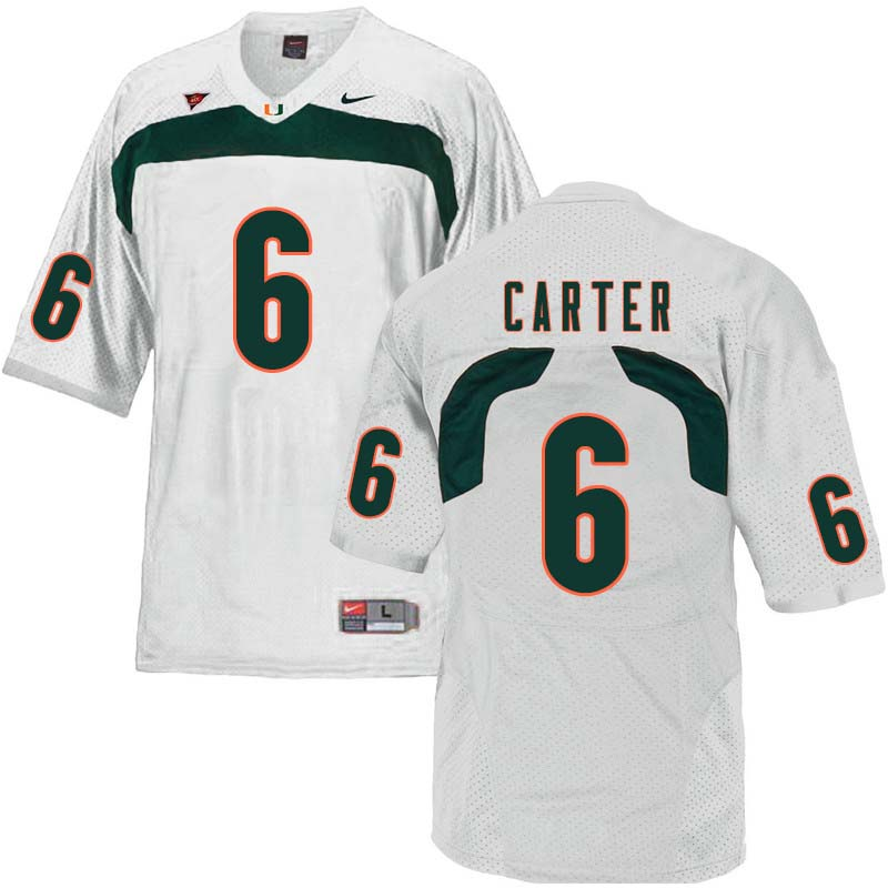Nike Miami Hurricanes #6 Jamal Carter College Football Jerseys Sale-White