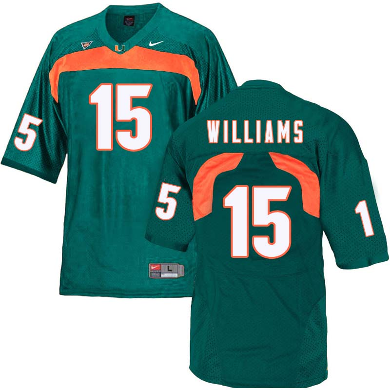 Nike Miami Hurricanes #15 Jarren Williams College Football Jerseys Sale-Green
