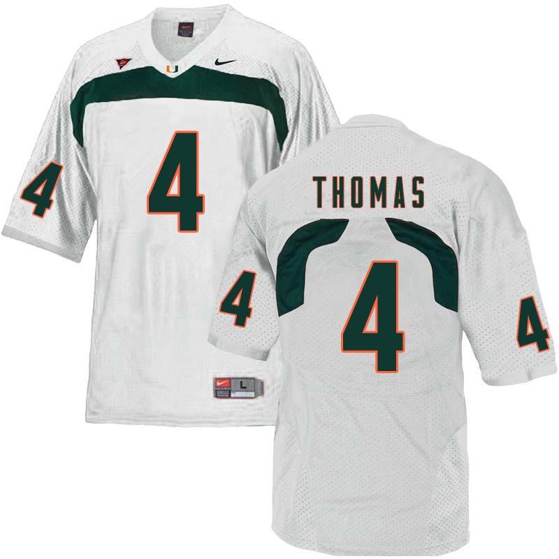 6ebb01e42 Nike Miami Hurricanes  4 Jeff Thomas College Football Jerseys Sale-White