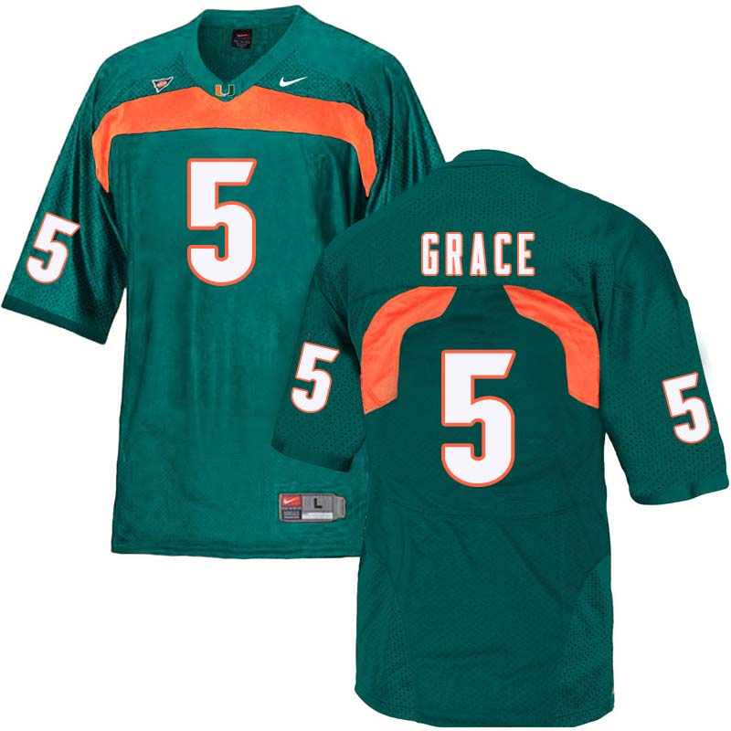 Nike Miami Hurricanes #5 Jermaine Grace College Football Jerseys Sale-Green