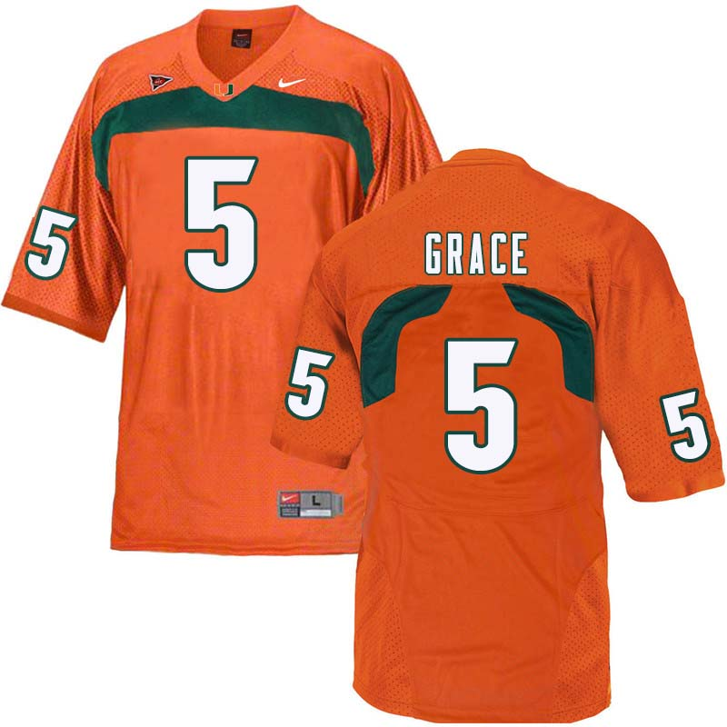 Nike Miami Hurricanes #5 Jermaine Grace College Football Jerseys Sale-Orange