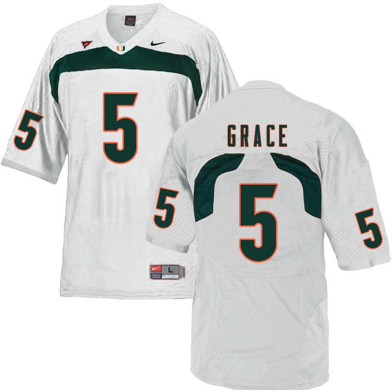 Nike Miami Hurricanes #5 Jermaine Grace College Football Jerseys Sale-White