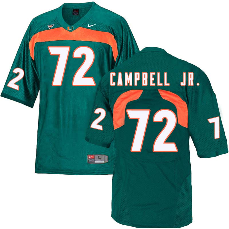 Nike Miami Hurricanes #72 John Campbell Jr. College Football Jerseys Sale-Green