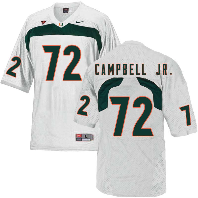 Nike Miami Hurricanes #72 John Campbell Jr. College Football Jerseys Sale-White