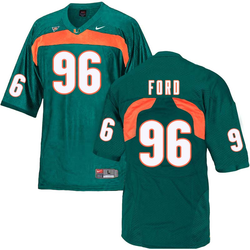 Nike Miami Hurricanes #96 Jonathan Ford College Football Jerseys Sale-Green