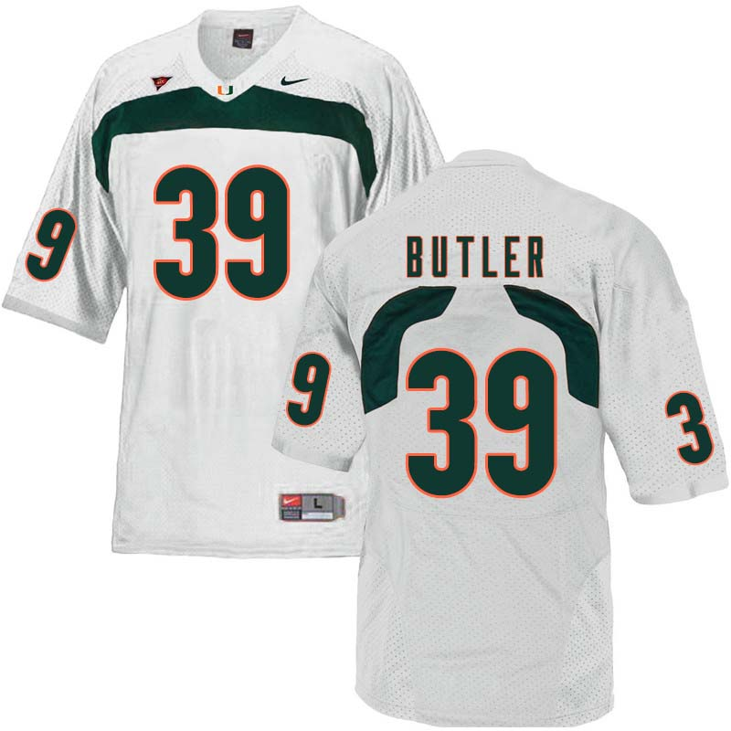 Nike Miami Hurricanes #39 Jordan Butler College Football Jerseys Sale-White