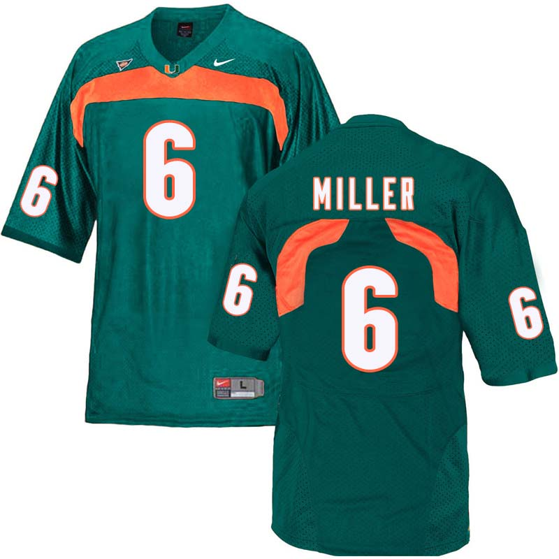 Nike Miami Hurricanes #6 Lamar Miller College Football Jerseys Sale-Green
