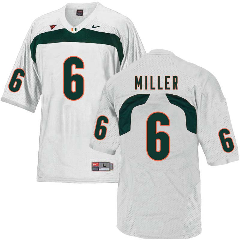 Nike Miami Hurricanes #6 Lamar Miller College Football Jerseys Sale-White