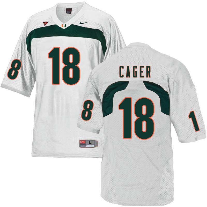 Nike Miami Hurricanes #18 Lawrence Cager College Football Jerseys Sale-White