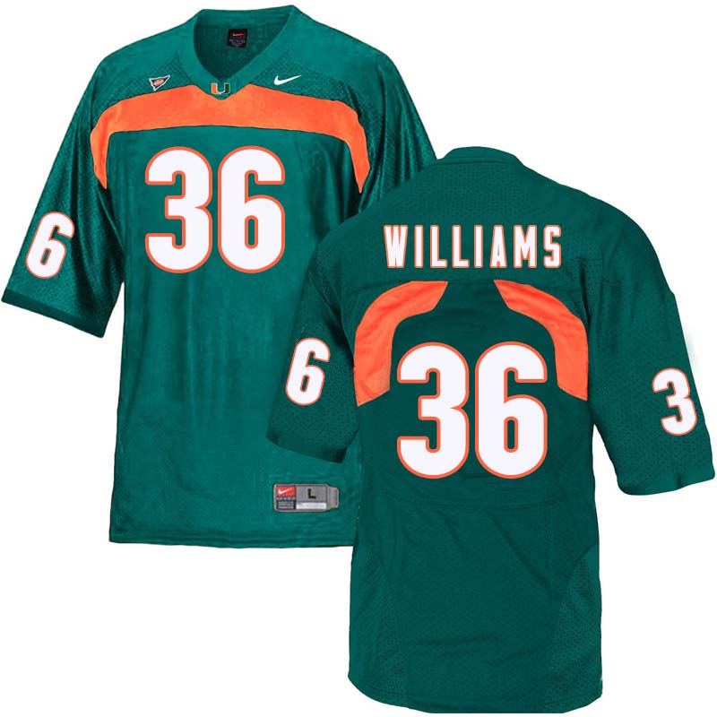 Nike Miami Hurricanes #36 Marquez Williams College Football Jerseys Sale-Green