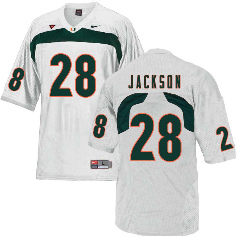 Nike Miami Hurricanes #28 Michael Jackson College Football Jerseys Sale-White