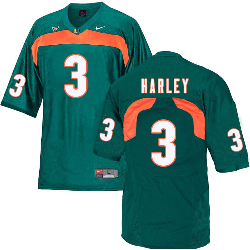 Nike Miami Hurricanes #3 Mike Harley College Football Jerseys Sale-Green