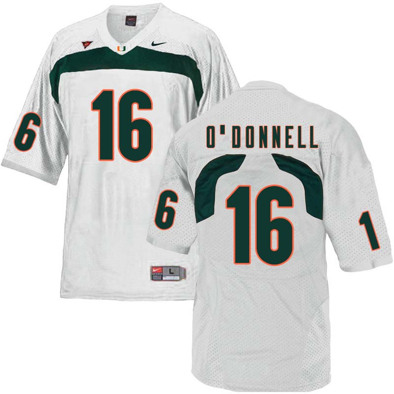 Nike Miami Hurricanes #16 Pat O'Donnell College Football Jerseys Sale-White