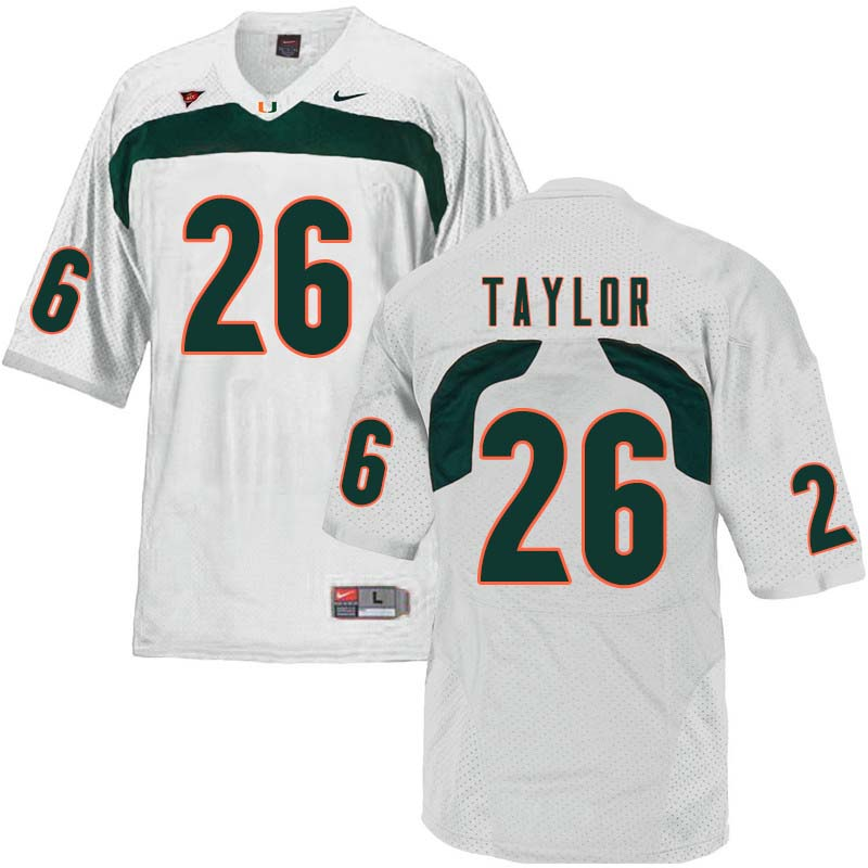 Nike Miami Hurricanes #26 Sean Taylor College Football Jerseys Sale-White