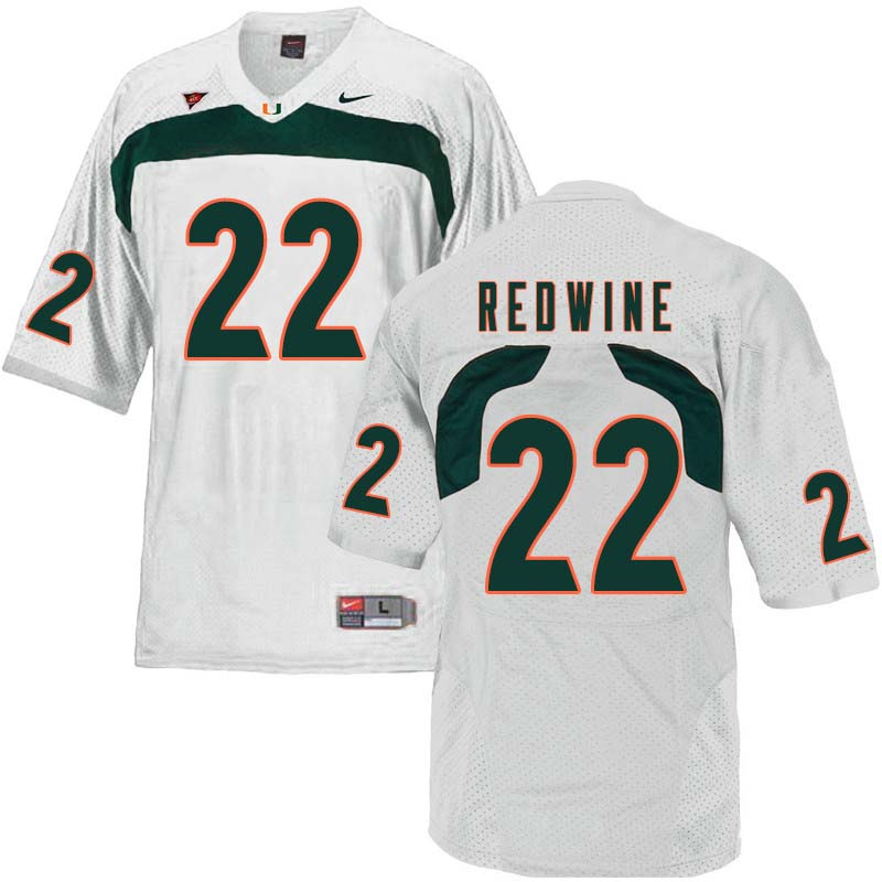 Nike Miami Hurricanes #22 Sheldrick Redwine College Football Jerseys Sale-White