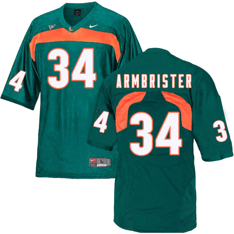 Nike Miami Hurricanes #34 Thurston Armbrister College Football Jerseys Sale-Green
