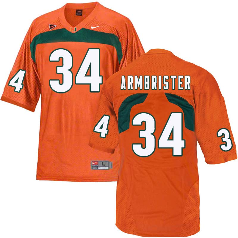 Nike Miami Hurricanes #34 Thurston Armbrister College Football Jerseys Sale-Orange