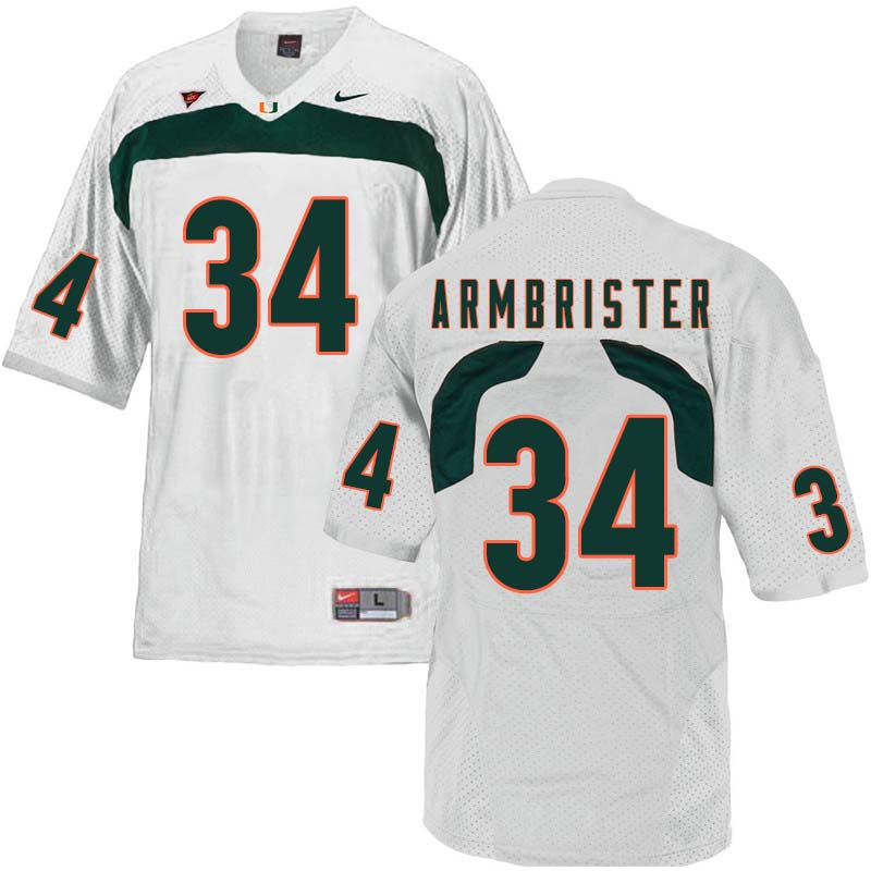 Nike Miami Hurricanes #34 Thurston Armbrister College Football Jerseys Sale-White