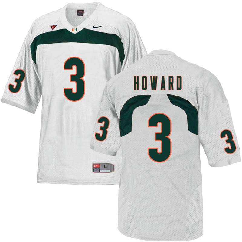 Nike Miami Hurricanes #3 Tracy Howard College Football Jerseys Sale-White