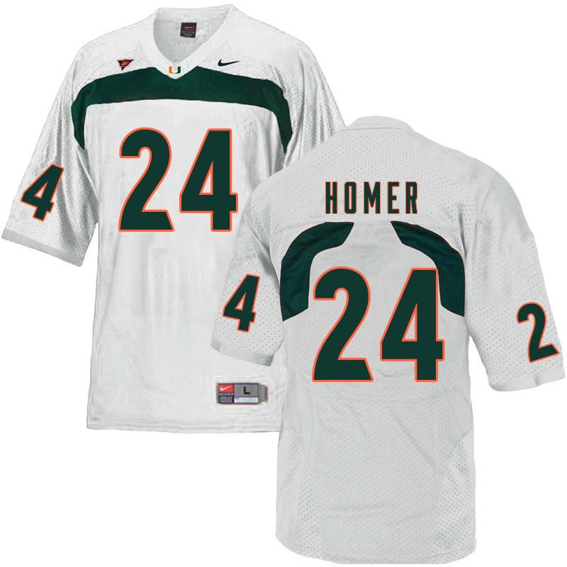 Nike Miami Hurricanes #24 Travis Homer College Football Jerseys Sale-White