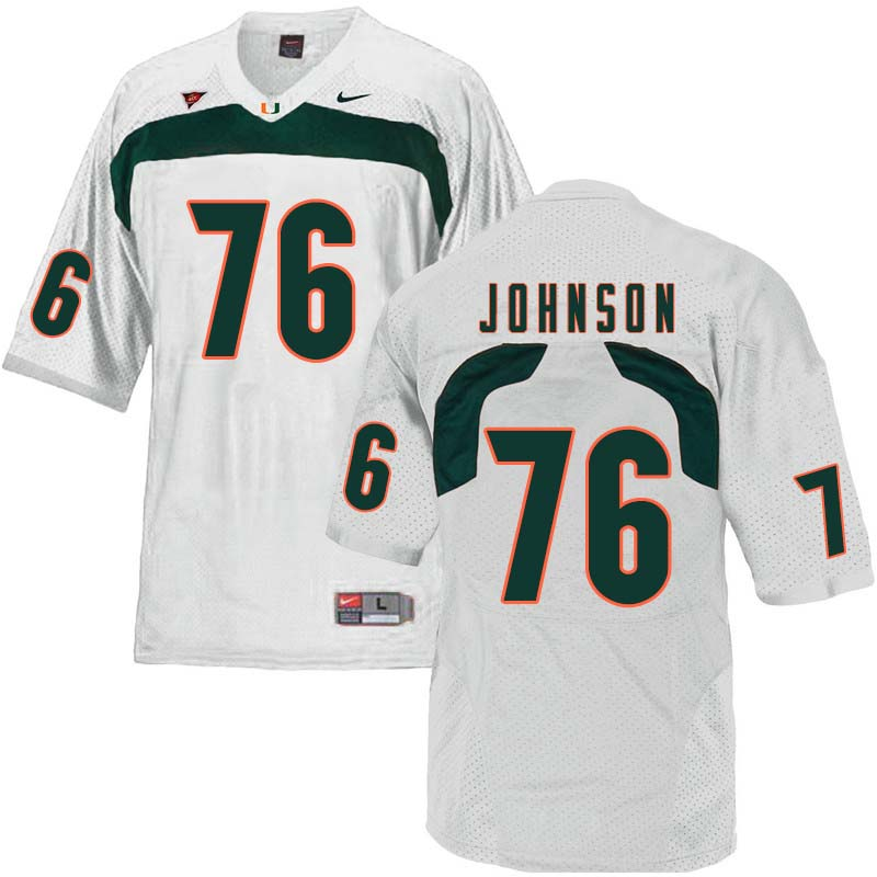 Nike Miami Hurricanes #76 Tre Johnson College Football Jerseys Sale-White