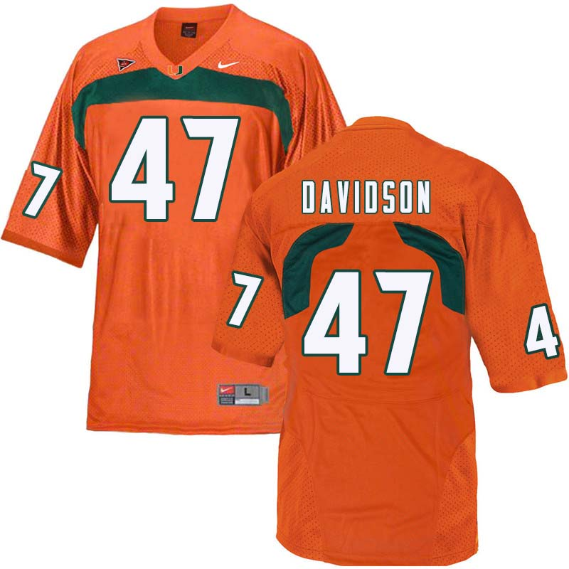 Nike Miami Hurricanes #47 Turner Davidson College Football Jerseys Sale-Orange