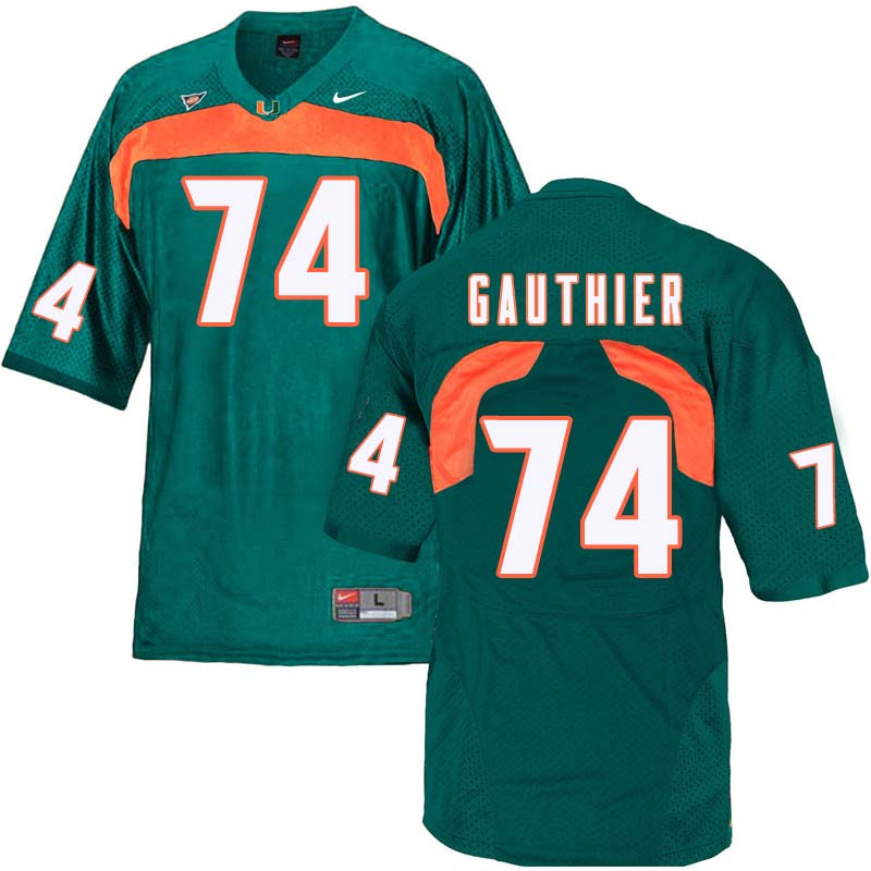 Nike Miami Hurricanes #74 Tyler Gauthier College Football Jerseys Sale-Green