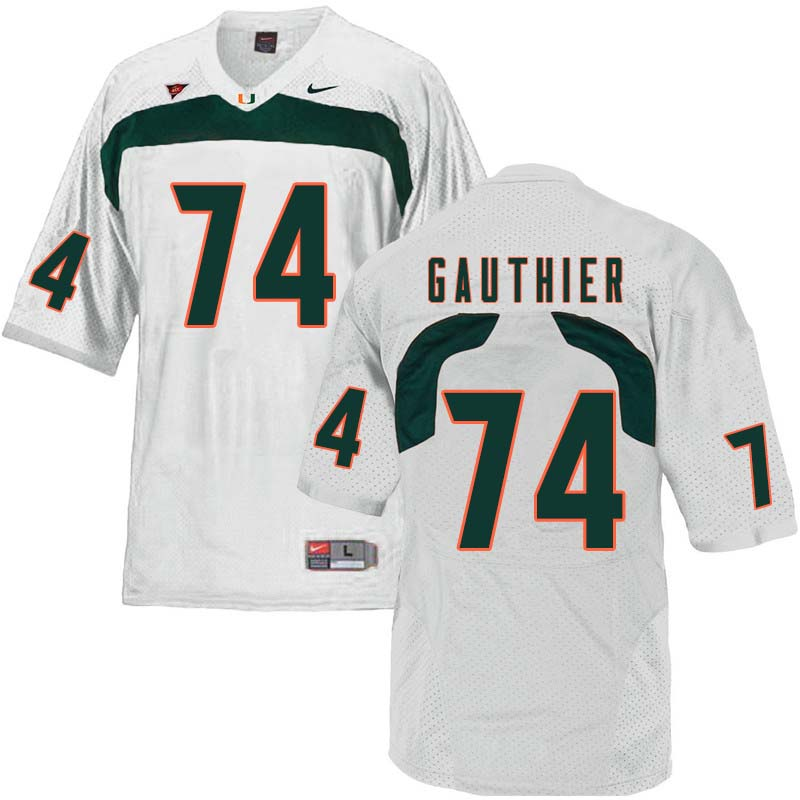 Nike Miami Hurricanes #74 Tyler Gauthier College Football Jerseys Sale-White