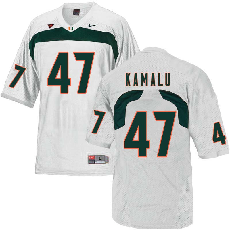 Nike Miami Hurricanes #47 Ufomba Kamalu College Football Jerseys Sale-White
