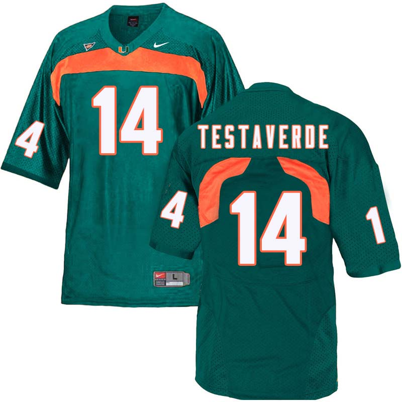 Nike Miami Hurricanes #14 Vinny Testaverde College Football Jerseys Sale-Green