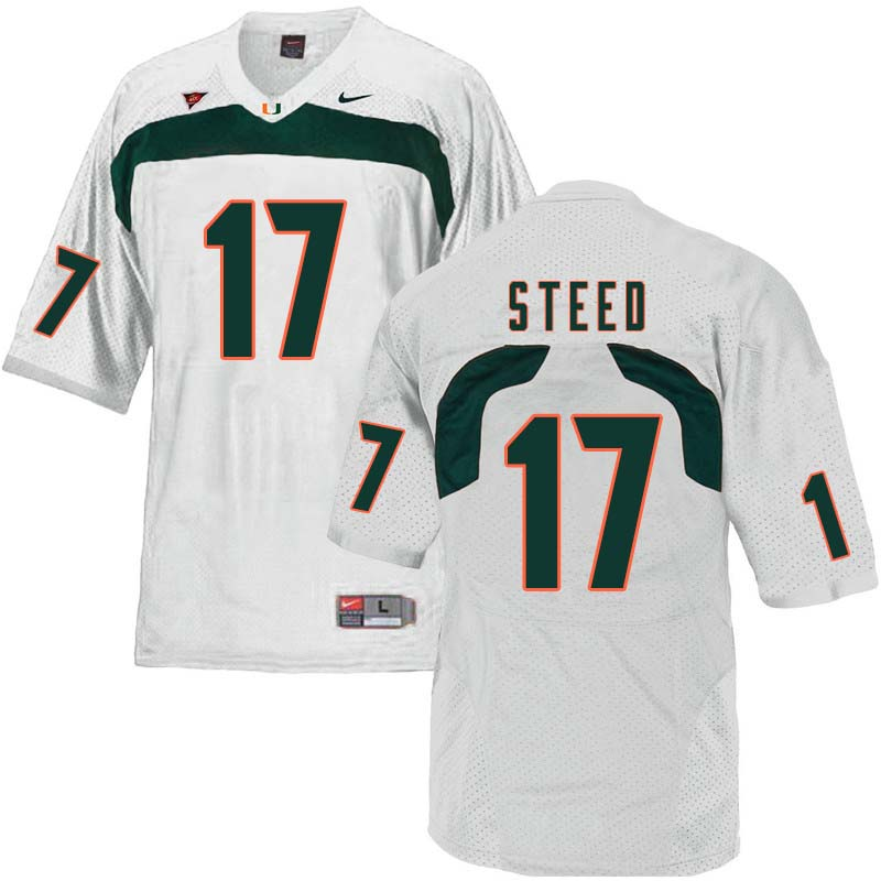 Nike Miami Hurricanes #17 Waynmon Steed College Football Jerseys Sale-White