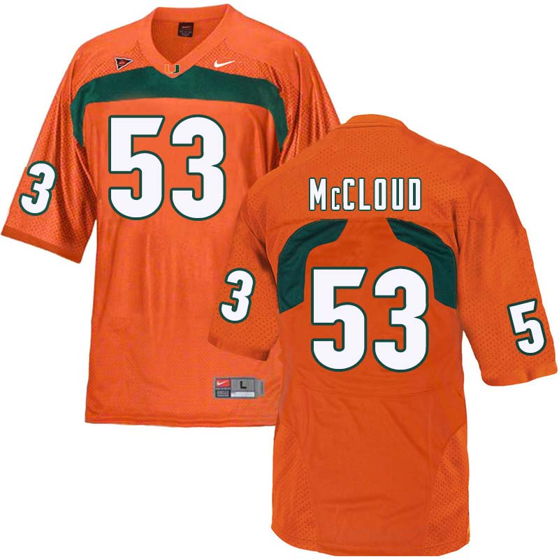 Nike Miami Hurricanes #53 Zach McCloud College Football Jerseys Sale-Orange