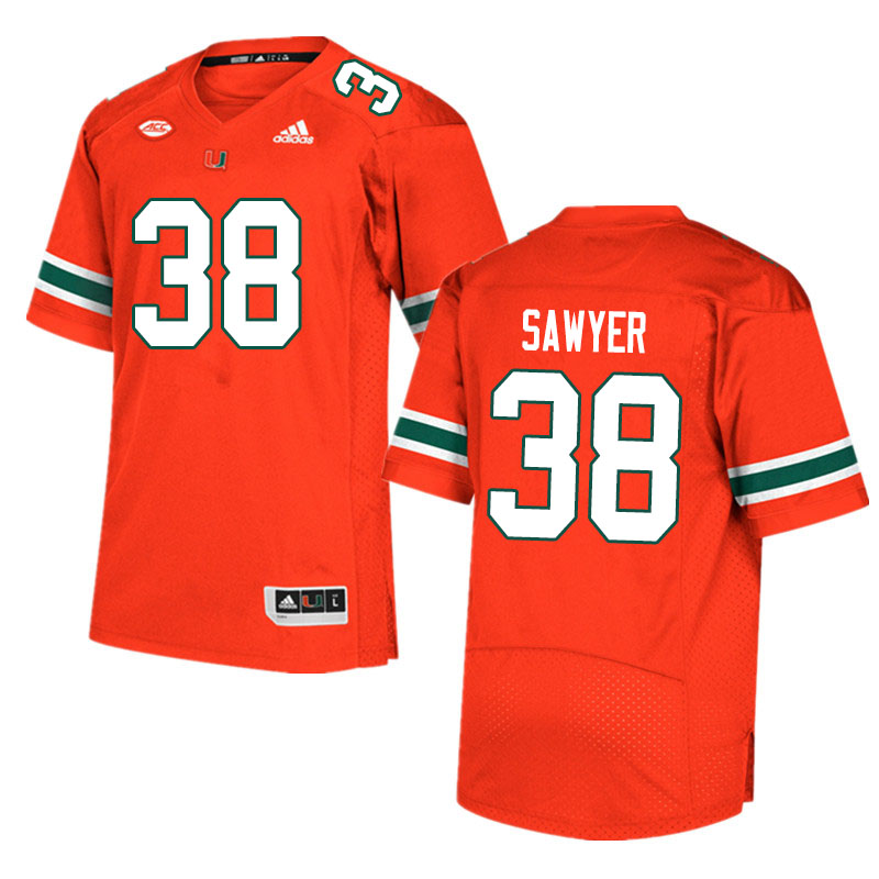 Men #38 Shane Sawyer Miami Hurricanes College Football Jerseys Sale-Orange