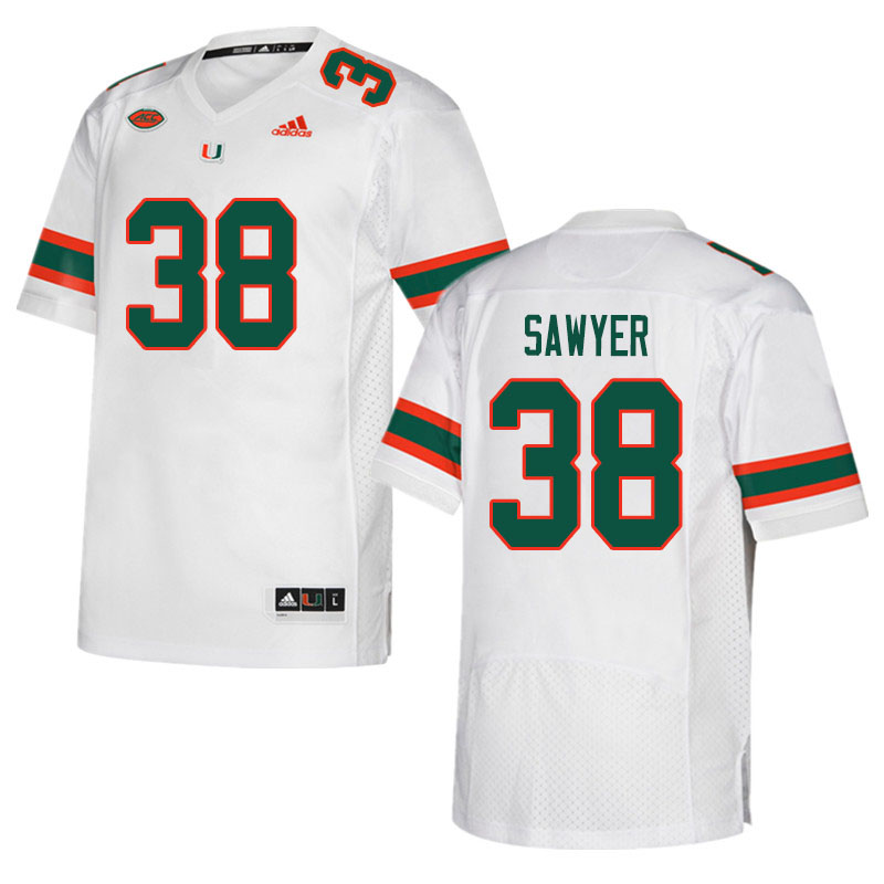 Men #38 Shane Sawyer Miami Hurricanes College Football Jerseys Sale-White