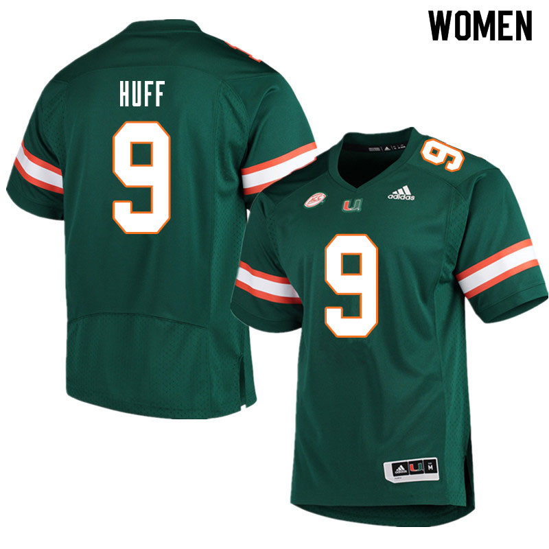 Women #9 Avery Huff Miami Hurricanes College Football Jerseys Sale-Green