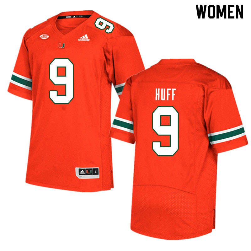 Women #9 Avery Huff Miami Hurricanes College Football Jerseys Sale-Orange