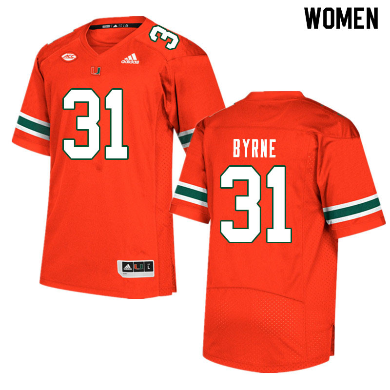 Women #31 Connor Byrne Miami Hurricanes College Football Jerseys Sale-Orange