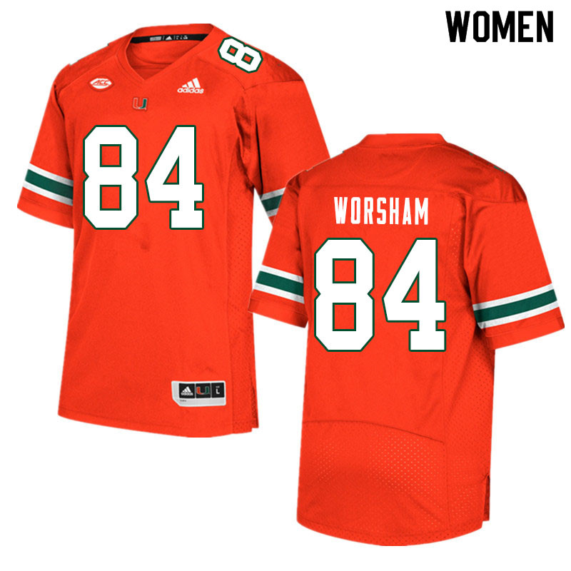 Women #84 Dazalin Worsham Miami Hurricanes College Football Jerseys Sale-Orange